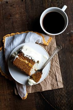 gingerbread cake with lemon ginger cloud frosting.