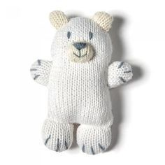 DIY ours polaire pour les enfants qui n'ont pas peur du froid DIY polar bear for children who aren't afraid of the cold Sock Animals, Knitted Animals, Knitted Dolls, Crochet Toys, Marie Claire, Loom Knitting, Baby Knitting, Circular Loom, Dou Dou