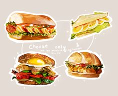 I felt like a kicked puppy today for no apparent reason, but I finally forced myself to draw something by practicing painting food. I'll start on the commissions when I'm feeling better. Sandwich Drawing, Cute Food Art, Food Sketch, Cute Food Drawings, Food Cartoon, Watercolor Food, Good Food, Yummy Food, Food Illustrations