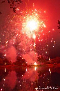 Wedding Reception-Rancho La Zaca-Fireworks across the pond. Boom.