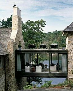 Breezeway between garage and house! lake house with stone exterior and glass skyway Farmhouse Architecture, Architecture Design, Organic Architecture, Classical Architecture, Contemporary Architecture, Architecture Board, Amazing Architecture, Future House, Haus Am See