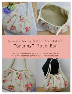 Granny Bag – Free Sewing Translation and PDF Pattern + How To Bind and Corner A Raw Edge Using Bias Tape | PatternPile.com