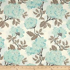Joel Dewberry Birch Farm Hydrangea Egg Blue from @fabricdotcom  Designed by Joel Dewberry for Free Spirit, this cotton print is perfect for quilting, apparel and home decor accents.  Colors include cream, black, taupe-grey and shades of blue.