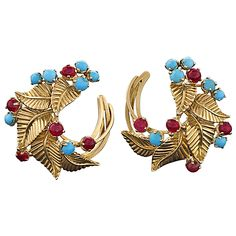 Marchak Paris Mid-Century Turquoise Ruby Gold Earrings | From a unique collection of vintage clip-on earrings at https://www.1stdibs.com/jewelry/earrings/clip-on-earrings/