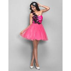 A-line/Princess One Shoulder Short/Mini Satin And Tulle Cocktail/Prom Dress – USD $ 89.69