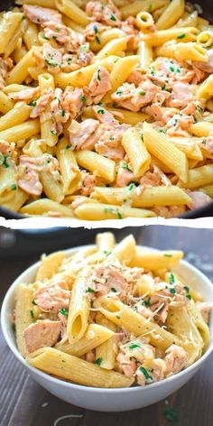 Easy Salmon Pasta This simple and elegant One Pot Creamy Salmon Pasta makes a quick and filling dinner that your family will love! Visit Cooktoria and make this scrumptious salmon dinner today! One Pot Creamy Salmon Pasta makes a quick and filling dinner! Yummy Recipes, Healthy Dinner Recipes, Cooking Recipes, Diet Recipes, Cooking Pasta, Cooking Food, Healthy Dishes, Healthy Meals, Soup Recipes