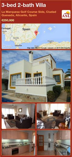 3-bed 2-bath Villa in La Marquesa Golf Course Side, Ciudad Quesada, Alicante, Spain ►€250,000 #PropertyForSaleInSpain