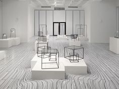 """""""Japanese designers Nendo will draw black and white floorboards that appear to flow around plinths for their solo show at the National Taiwan Craft Research and Development Institute later this month. Display Design, Booth Design, Store Design, Exhibition Display, Exhibition Space, Exhibition Stands, Store Concept, White Floorboards, Architecture Design"""