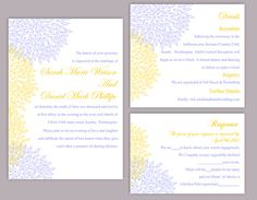 DIY Wedding Invitation Template Set Editable Word File Download Printable Floral Invitation Yellow Wedding Invitation Blue Invitations by TheDesignsEnchanted on Etsy