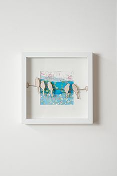 birds on the wire 3d framed picture by ( q u i e t l y c r e a t i v e ) | notonthehighstreet.com