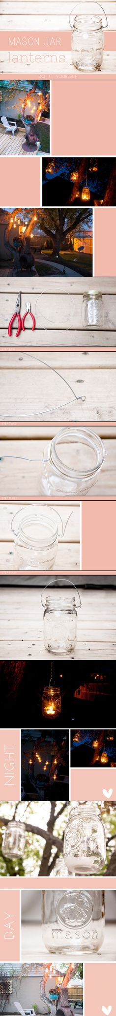 Clever and easy DIY Mason Jar Hanging Lanterns - Founded at Petite Raisin