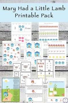 This Mary Had A Little Lamb Printable Pack Is Aimed At Children In Kindergarten Preschool