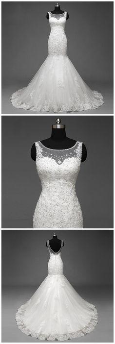 Sexy Backless Scoop Neckline Lace Mermaid Wedding Bridal Dresses, Custom Made Wedding Dresses, Affordable Wedding Bridal Gowns, WD252