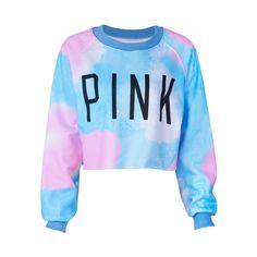 """Pink"" Print Blue Sweatshirt (680 MXN) ❤ liked on Polyvore featuring tops, hoodies, sweatshirts, shirts, sweaters, print shirts, pink sweatshirts, blue top, blue print top and print top"