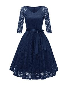 Anninice Women's V-Neck Vintage Sexy Full Lace Big Swing Dress (Long Sleeves and Sleeveless )