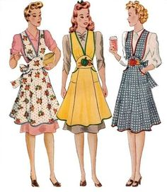 My mom wore aprons all the time, mostly the ones w/o the tops. They were not Vintage aprons at the time.