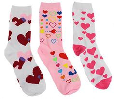 Valentine's Day Hearts Theme Women's Crew Socks (3 Pair) >>> This is an Amazon Affiliate link. Click image for more details.