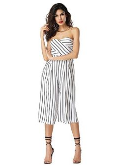 79fa9fc20195 WOMEN S Jumpsuits · Clarisbelle Women s Sexy Off Shoulder Strapless High  Waist Sleeveless Stripe Wide Leg Jumpsuit Rompers Rompers Women