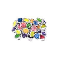 Rêves & Merveilles Set of 24 adjustable gem rings, including a whole range of styles, colours and designs / Set de 24 bagues ajustables aux coloris et formes assorties