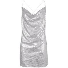 Boohoo Boutique Leah Sequin Cowl Front Strappy Slip dress ($52) ❤ liked on Polyvore featuring dresses, bodycon dress, body con dress, sequin cocktail dresses, party dresses and maxi party dresses