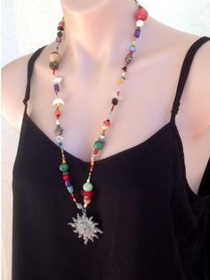 Sun necklace Sun pendant Boho Ethnic Happy necklace Colorful