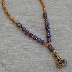 Aromatic sandalwood and genuine amethyst Buddha pendant mala necklace – Lovepray jewelry Chakra Jewelry, Yoga Jewelry, Crystal Jewelry, Beaded Jewelry, Beaded Necklaces, Collar Hippie, Spiritual Jewelry, Boho Chic, Leather Jewelry