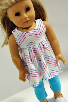 Rainbow Colored Chevron Print Summer Top with Turquoise Leggings 18 Inch Doll Clothes fits dolls such as American Girl by CircleCSewing on Etsy American Doll Clothes, Ag Doll Clothes, Doll Clothes Patterns, Clothing Patterns, Doll Patterns, Dress Patterns, Girl Dolls, Ag Dolls, Tall Girl Fashion