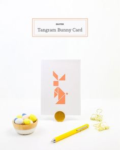 tinker easter, white cardstock card, bunny made of geometric elements, colorful eggs Spring Home Decor, Easter Bunny, Card Stock, Place Card Holders, Holiday, Cards, How To Make, Diy, Easter Ideas