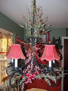 Bless My Nest: Christmas chandelier Christmas Chandelier, Christmas Lamp, Holiday Fun, Christmas Holidays, Christmas Decorations, Christmas Ideas, Merry Christmas, Xmas, Christmas Floral Designs