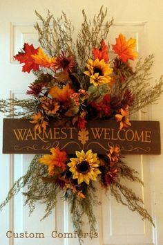 Fall Door Wreath - Warmest Welcome
