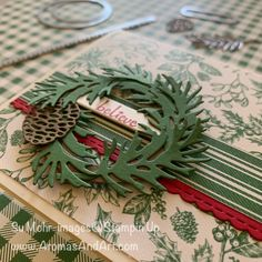 Christmas wreath made with Beautiful Boughs dies, and a background of Toile Tidings Designer Paper. Paper Christmas Decorations, Christmas Paper Crafts, Christmas Labels, Christmas Catalogs, Stampin Up Christmas, Christmas Tag, Handmade Christmas, Christmas Wreaths, Stampinup Christmas Cards