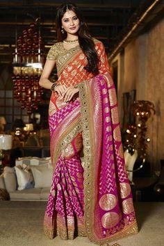 Orange et rose Viscose Saree Avec Art Silk Blouse Prix:276,69 €  orange et rose viscose sari avec chemisier en soie d'art de la crème . Agrémentée brodé , Resham , Zari , la pierre et de la main . Saree est livré avec col chemisier u . Produit sont disponibles en tailles 34,36,38,40 . Il est parfait pour vêtements de sport , vêtements de fête , l'usure du parti et de l'usure de mariage…