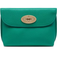 Mulberry Locked Cosmetic Purse (€250) ❤ liked on Polyvore featuring beauty products, beauty accessories, bags & cases, cosmetic bag, aqua green, toiletry bag, purse makeup bag, makeup purse, make up purse and dop kit