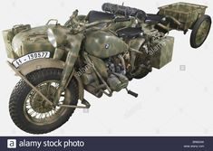 A BMW R75 with sidecar and ammunition trailer., Issued in 1940, the R75 is a motorcycle exclusively conceived for military purpo Stock Foto
