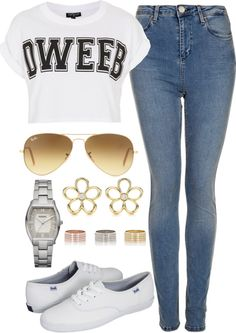 """Light wash jeans"" by ieleanorcalderstyle ❤ liked on Polyvore"
