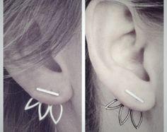 Moonbeam Deep V Ear Jackets and Full Moon Stud by RenegadeSilver