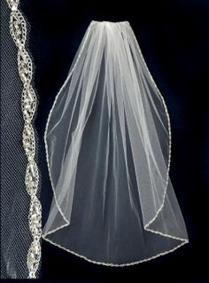Wedding Veil with Silver Seed Beads Marquise Trim