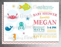 Under the Sea Baby Shower Invitation for Girls or Boys, Printable, Customizable #114 on Etsy, $15.00