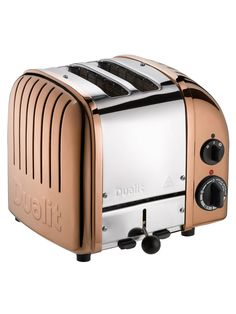 Rejuvenate your countertop with the Dualit Copper 4 Slice Toaster. Perfectly pairs with the Dualit Copper Kettle. Colour also available as a 2 slot toaster. This colour may be subject to special order Dualit Toaster, 4 Slot Toaster, Four Slice Toaster, Toaster Ovens, Bread Toaster, Sandwich Toaster, Kitchen Gourmet, Kitchen Dining, Smart Kitchen