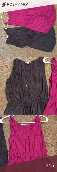 Dresses! Great thin silky dresses, that would be great over black LEGGINGS! Button down front. One is grey other is maroon. Great condition!! Also has pockets on the side American Eagle Outfitters Dresses Mini