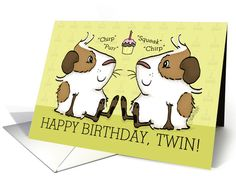 Happy Birthday for My Twin-Guinea Pigs Talk card