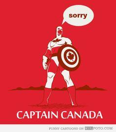 Captain Canada via /r/funny. Canadian Things, I Am Canadian, Canadian Humour, Funny Canadian Memes, Canadian Facts, Canada Funny, Canada Eh, Canada Jokes, Funny Cartoons