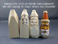 Tutorial by Woodbeecarver Wooden Ornaments, Santa Ornaments, Whittling Wood, Wooden Projects, Wood Crafts, Wood Carving Patterns, Woodworking Shop, Woodworking Projects, Christmas Wood