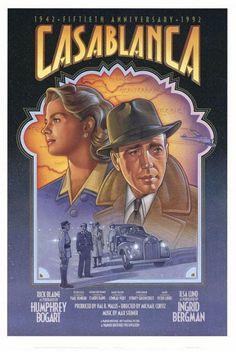 Casablanca Poster Movie F 27 x 40 In - Humphrey Bogart Ingrid Bergman Paul Henreid Claude Rains Peter Lorre Sydney Greenstreet Old Movie Posters, Classic Movie Posters, Cinema Posters, Movie Poster Art, Classic Movies, Vintage Posters, Old Movies, Vintage Movies, Great Movies