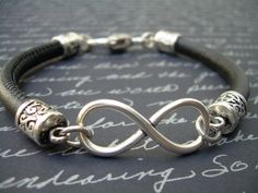 Infinity Bracelet Leather  Bracelet Stitched Nappa by MalibuCreek, $23.00