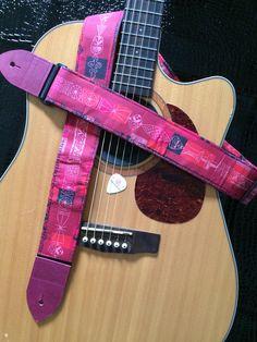 Stylish tiki guitar strap -- shades of pink, magenta, raspberry and black by MyMumDrivesaUFO on Etsy #Spoonflower