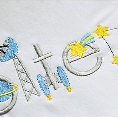 Space Font - Planet Applique Inc Embroidery Alphabet, Embroidery Fonts, Embroidery Applique, Embroidery Patterns, Applique Designs, Machine Embroidery Designs, Embroidery Machines, Nautical Fonts, Easter Fonts
