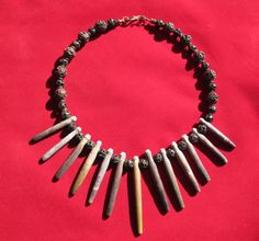 Sea Urchin and Lava Statement Necklace by TamashasTreasures