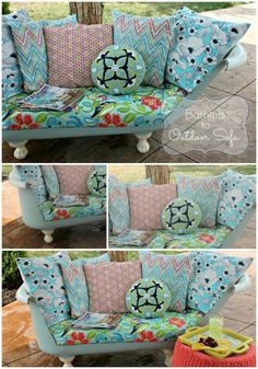 Create effortless, comfortable seating in a Sofa made from an old Cast Iron Bathtub. Old Bathtub, Cast Iron Bathtub, Antique Bathtub, Bathtub Ideas, Clawfoot Bathtub, Furniture Makeover, Diy Furniture, Outdoor Furniture, Cast Iron Garden Furniture
