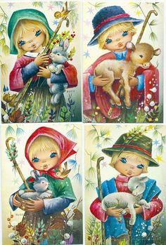 9133 - EDICIONES CYZ - SERIE 1803.34- COMPLETA A,B,C,D - ILUSTRA NUCO - 12 x 8 CM APROX - NUEVAS - Foto 1 Vintage Postcards, Vintage Images, Vintage Art, Clipart Vintage, Old Cards, Vintage Christmas Cards, Big Eyes, Big And Beautiful, Sweet Dreams